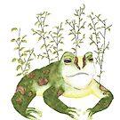 Watercolor Frog Among Leaves by WildernessStore