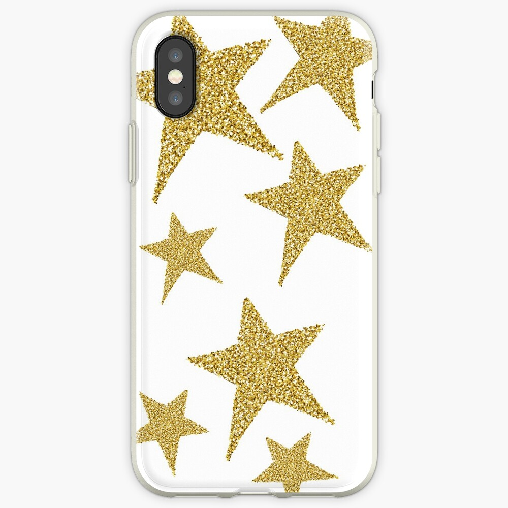 goldene Glitzersterne iPhone-Hülle & Cover