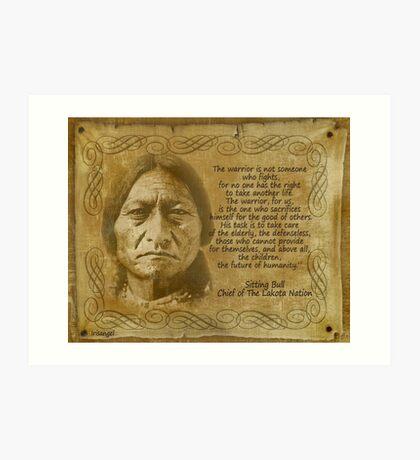 Sitting Bull Warrior Zitat. Rustikaler Druck Kunstdruck