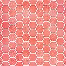 Coral Pink Honeycomb Pattern by blueskywhimsy