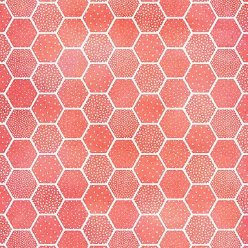 Coral Pink Honeycomb Pattern de blueskywhimsy