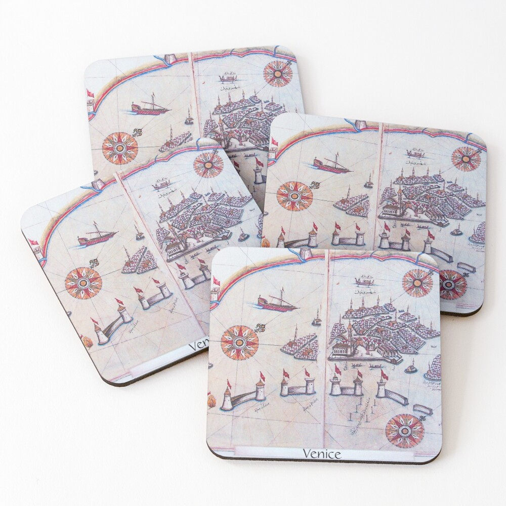 PIRI REIS MAPS FROM BOOK OF NAVIGATION City of Venice 1515 Coasters (Set of 4)