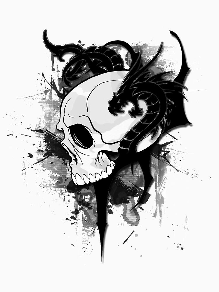 dragons on skull  tattoo by designhp