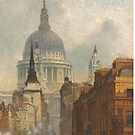 London skyline, view of St Paul's Cathedral and Fleet Street, antique  illustration from Victorian era by Angie Stimson