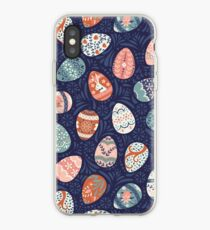 Floral Easter Eggs in Blue + Pink iPhone Case