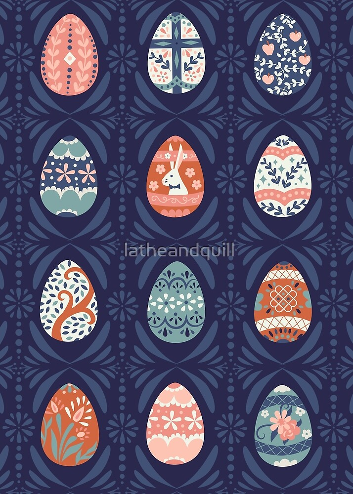 Floral Easter Eggs in Blue + Pink by latheandquill