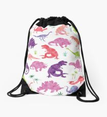 Watercolor Dinosaur Silhouettes Girly Drawstring Bag