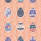 Floral Easter Eggs in Coral + Purple by latheandquill