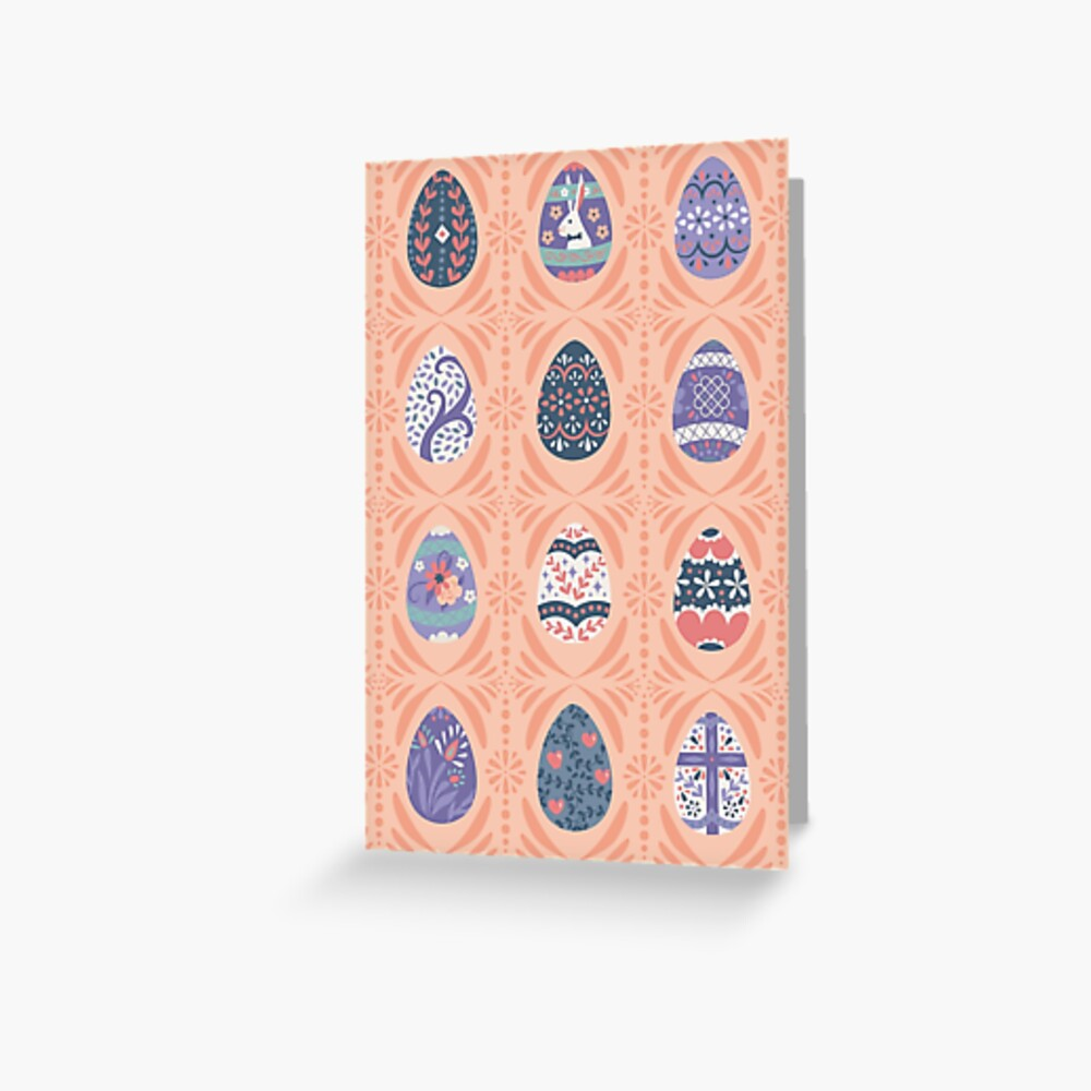Floral Easter Eggs in Coral + Purple Greeting Card