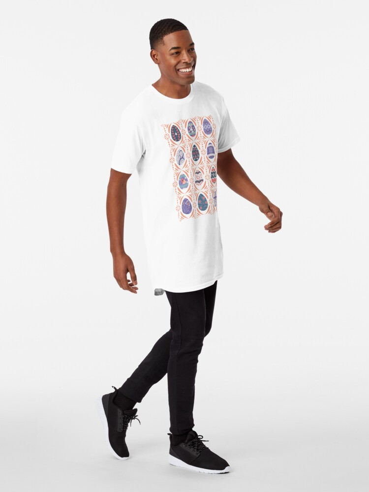 Alternate view of Floral Easter Eggs in Coral + Purple Long T-Shirt