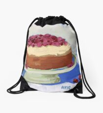 Raspberry Cream Cake Drawstring Bag