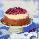 Raspberry Cream Cake by AMOpainting