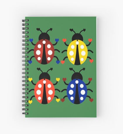 Ladybugs with Hearts Spiral Notebook