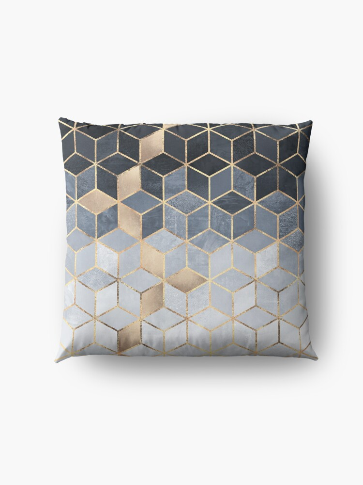 Alternate view of Soft Blue Gradient Cubes Floor Pillow