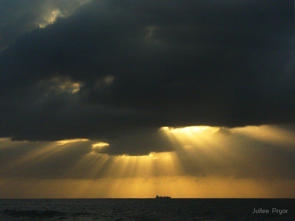 in the morning dark there golden light from above by Juilee  Pryor