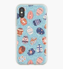 Floral Easter Eggs in Light Blue iPhone Case