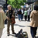 Violinist Enjoying Sunshine and Some Recognition in Seattle WA by Cara Schingeck