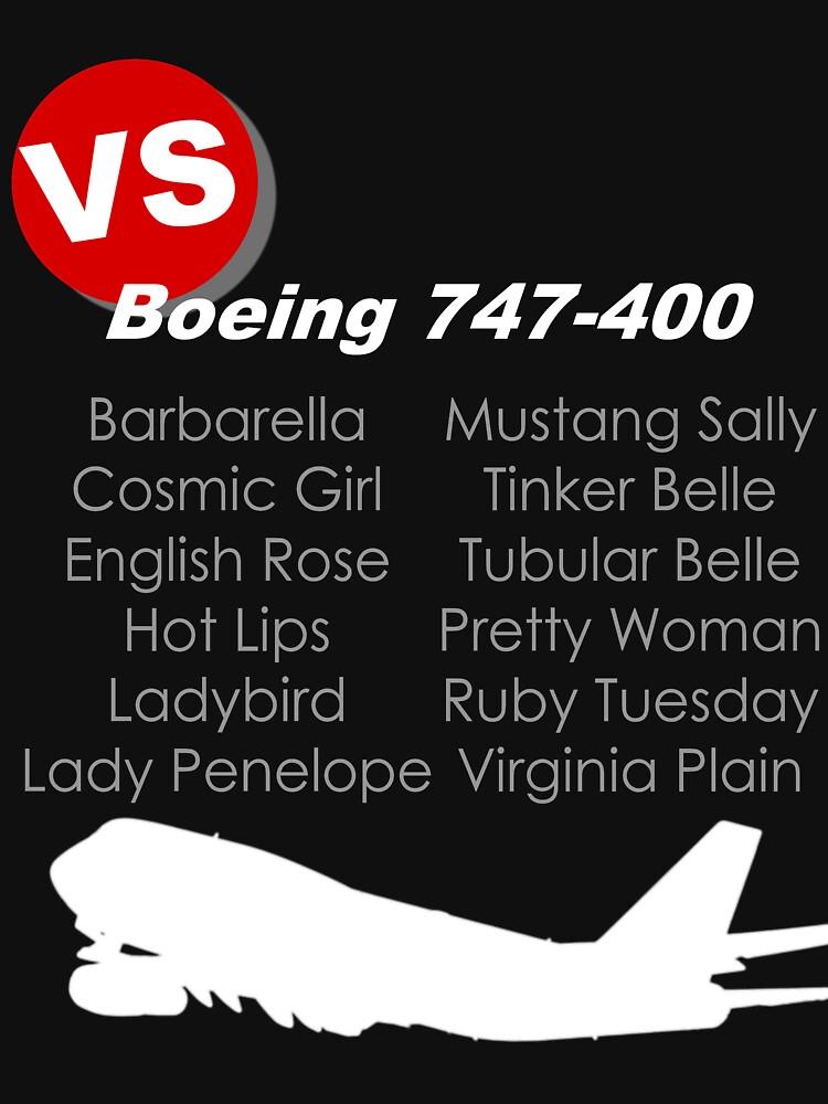 Virgin Atlantic Boeing 747-400 Names (White Print) by Auchmithie49