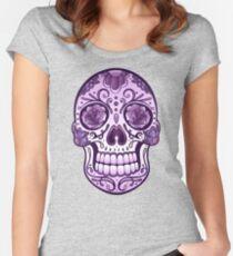 Floral Sugar Skull Totenkopf Totenschädel Day Of The Dead  Tailliertes Rundhals-Shirt