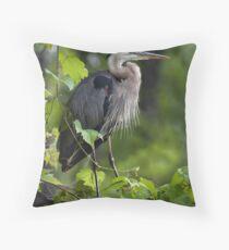 Great Blue Heron Thinking Green Throw Pillow