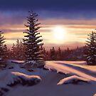 Sunset on a snowy landscape by Soualigua