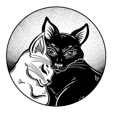 Black and white cat in tender hug of opposites in round frame. by KatjaGerasimova
