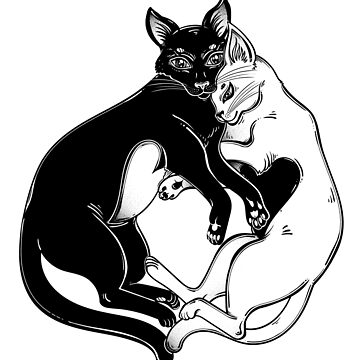 Black and white cat with hearts on the belly in tender hug of opposites.  by KatjaGerasimova