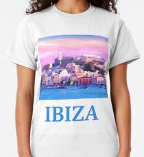 Retro poster Ibiza old town and harbor pearl of the Mediterranean Classic T-Shirt