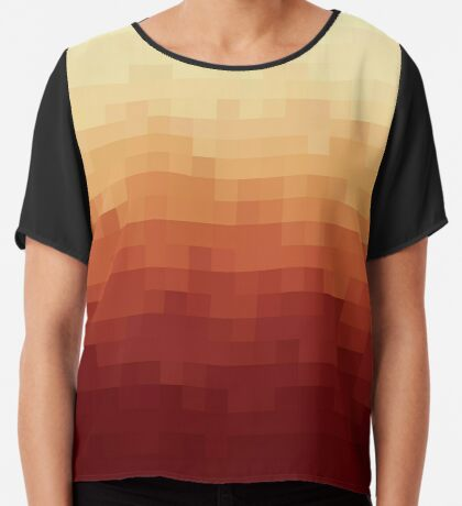Gradient Red Fire Pixels Blusa