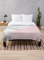 Marble + Pink Pastel Color. Classic Geometry. Throw Blanket