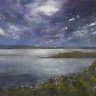 Moonlight across the Bay with Sea Pinks and Gorse by Jacki Stokes