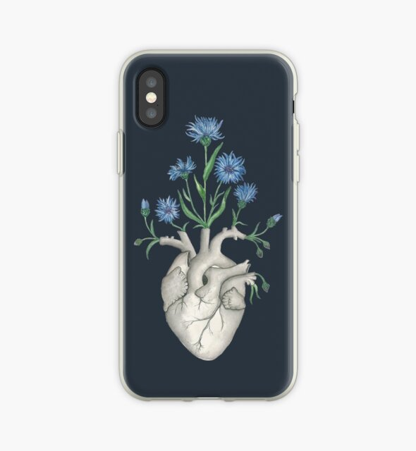 Floral Heart: Human Anatomy Cornflower Mothers Day Gift by Ossuarium Floreus