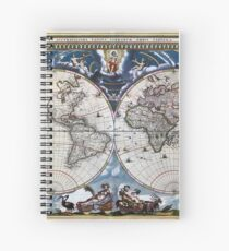 Antique old world map 1664 Restored Spiral Notebook