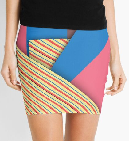 Modern Funk Striped Abstract Design Mini Skirt