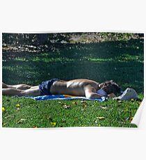 Man getting a suntan Poster