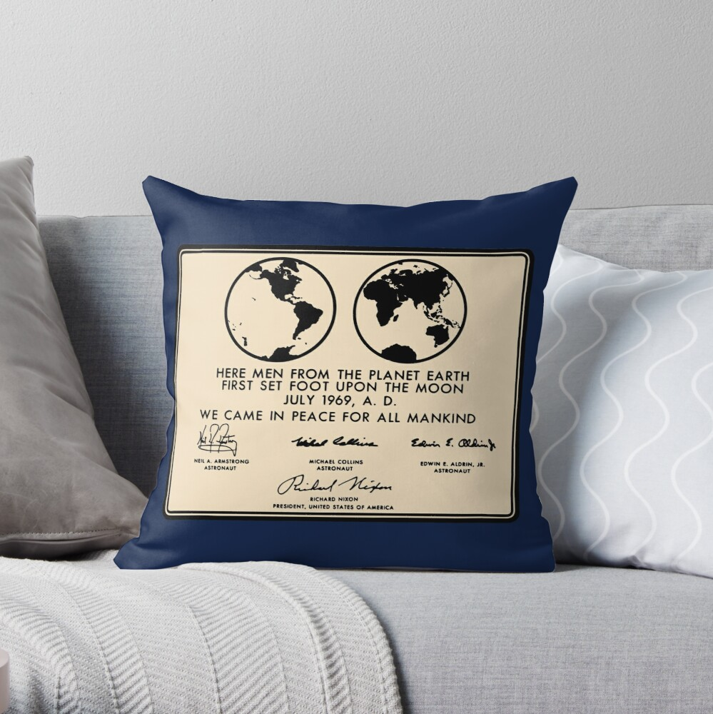 NASA Apollo 11 Lunar Plaque Anniversary Throw Pillow