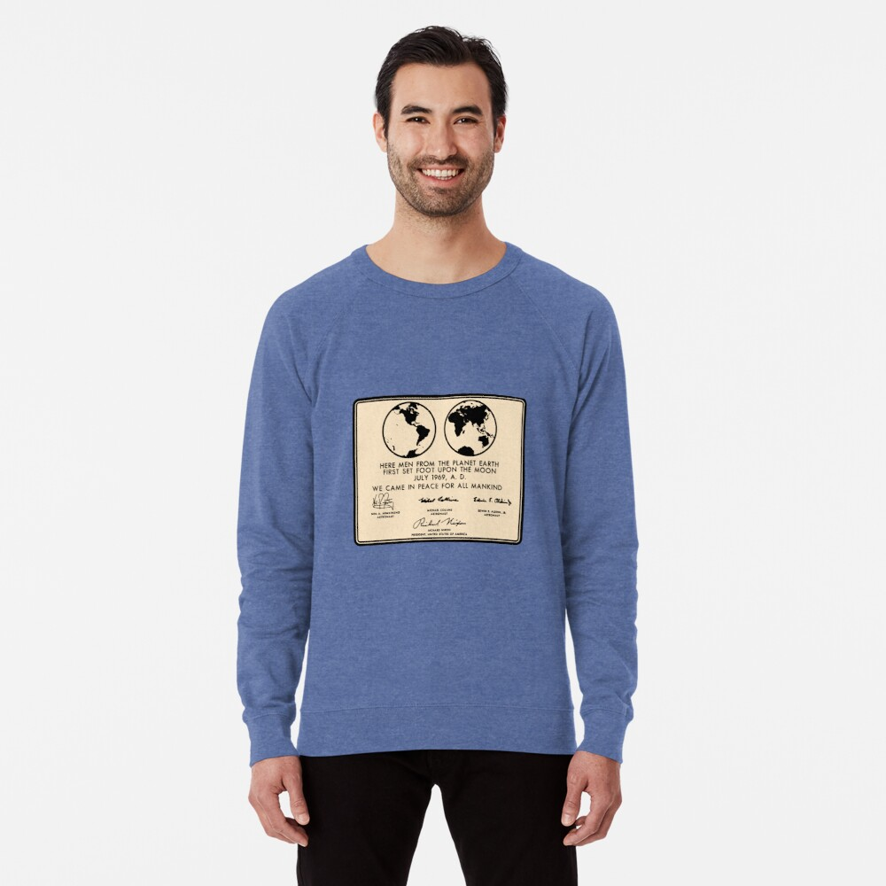 NASA Apollo 11 Lunar Plaque Anniversary Lightweight Sweatshirt
