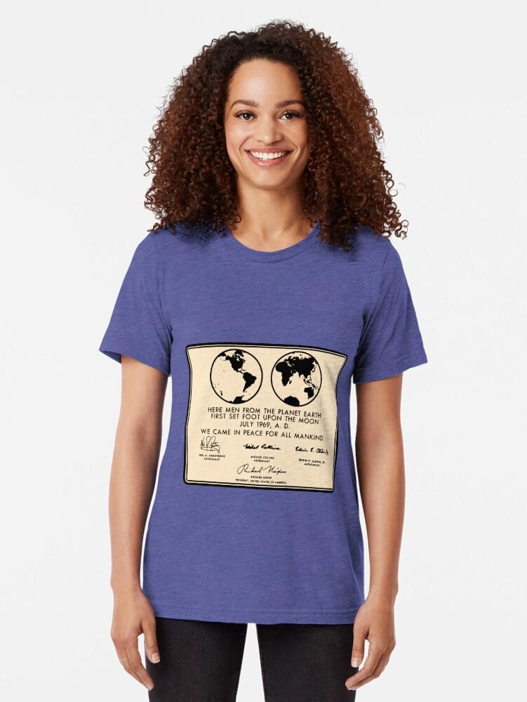 Alternate view of NASA Apollo 11 Lunar Plaque Anniversary Tri-blend T-Shirt
