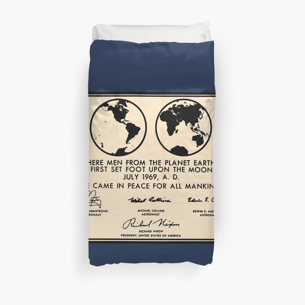 NASA Apollo 11 Lunar Plaque Anniversary Duvet Cover
