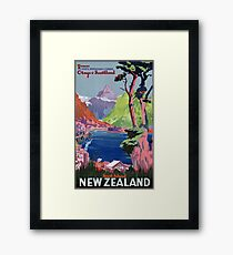South Island New Zealand Vintage Poster Restored Framed Print