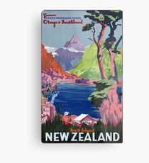 South Island New Zealand Vintage Poster Restored Metal Print