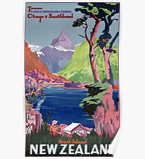 South Island New Zealand Vintage Poster Restored Poster