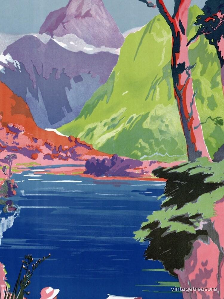 Südinsel-Neuseeland-Weinlese-Plakat wieder hergestellt von vintagetreasure
