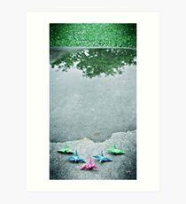 little paper cranes Art Print