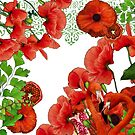 Red Poppies Flowers, Pomegranates & Flamingos by Margaret Dill