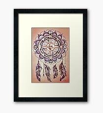 Bohemian Compass Rose Mandala - Tattoo Colours Framed Print