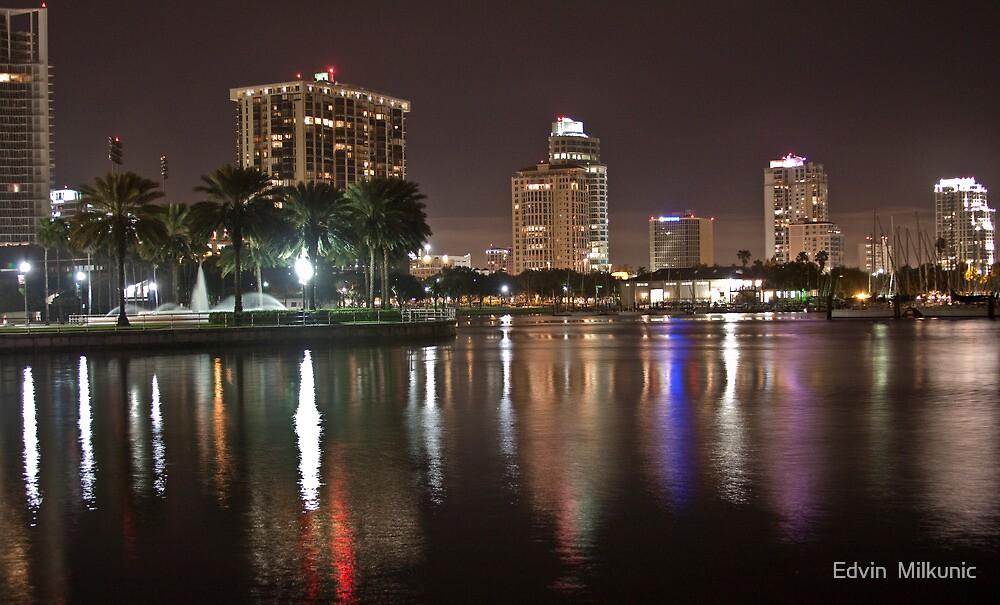 St. Petersburg Lights on Water by Edvin  Milkunic