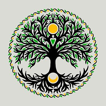Yggdrasil, Celtic tree of life, moon and sun, tree of life by nitty-gritty