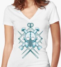 Tribal blue gasmask Women's Fitted V-Neck T-Shirt