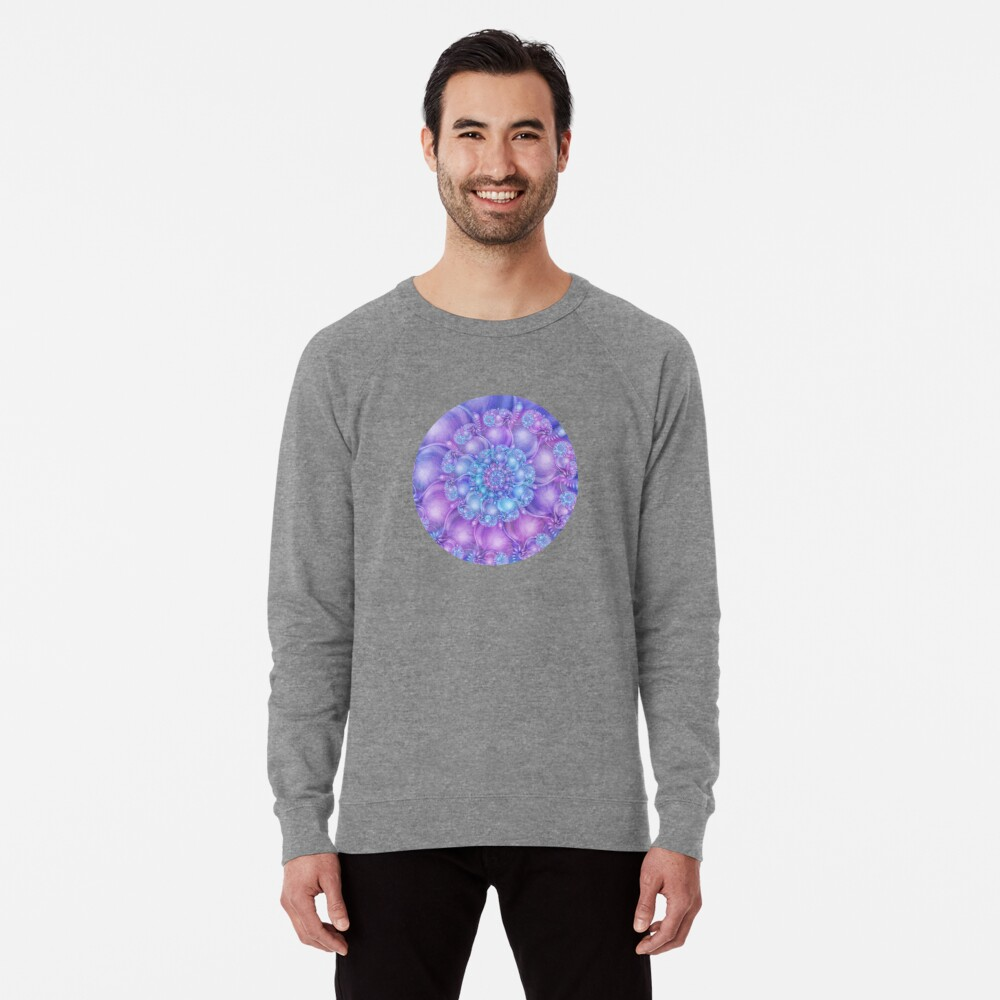 Cerulean Blue and Violet Purple Spiral Lightweight Sweatshirt